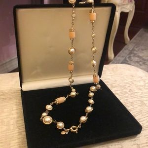 Gorgeous JCREW Pearl, CZ and coral stone necklace